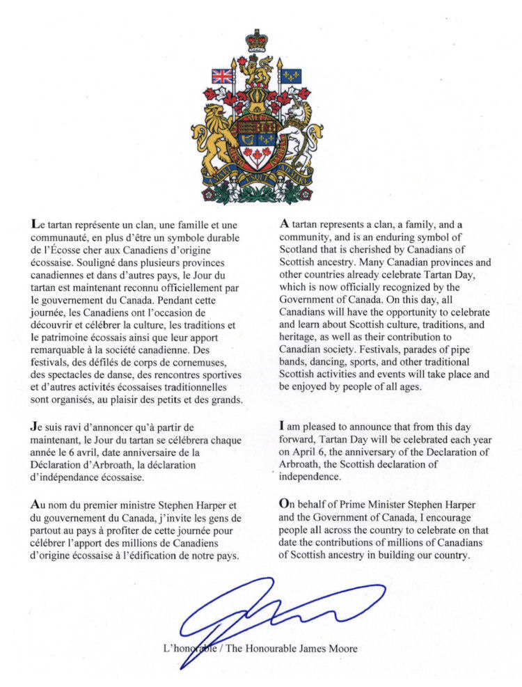 Tartan Day Proclamation - Canada