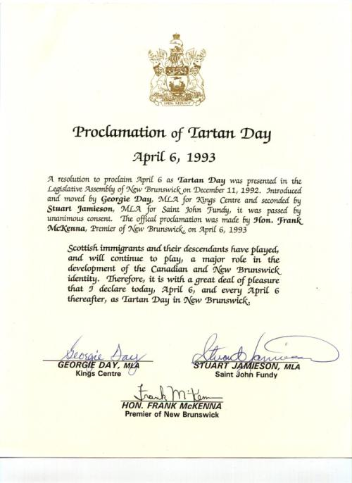 Tartan Day Proclamation - NB